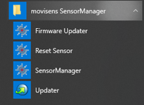 Screenshot SensorManager in Windows Start Menu